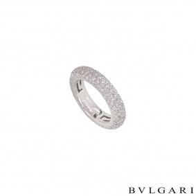 Bvlgari White Gold Pave Diamond Ring